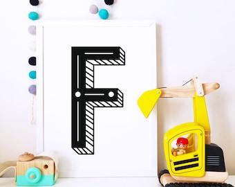 Nursery art, nursery poster, typographic print, Kids room art print, monochrome print, alphabet print, personalized letter print