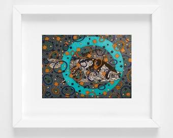 Goldfish Art Print, 8x10 Matted, Bubble Fish Art, Fish Artwork, Kids Room Decor, Art for Bathroom, Blue Art, Geometric Art,  Under The Sea