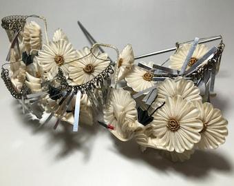 Japanese antique hand made barrette hair accessories ornament Tsumami Kanzashi Birakan Chrysanthemum & Crane