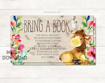 Bringen Sie ein Buch Karteneinsatz Bücher für Baby, Baby-Dusche-Mädchen, Baby-Dusche Elch, Wald Baby-Dusche Baby Shower Spiel, druckbare Nr. 1047