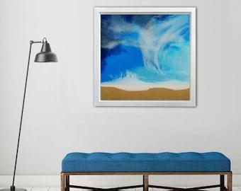 Flic en Flac - Resin epoxy painting blue gold leaf/ 19,68''x23,62''