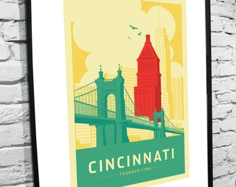 Cincinnati, Ohio Skyline 11x14 poster