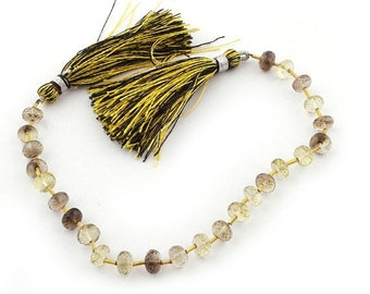 Fathers Day Sale 1 Strand Bio Smoky & Lemon Quartz  Faceted Rondelles Beads - 7mm 7.5Inches BR1777