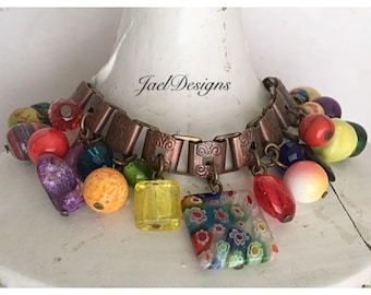 Vintage Copper Book Chain Charm Bracelet - Rainbow Beads - One of a Kind