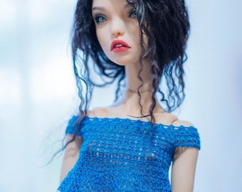 Crochet handmade blouse for Popovy Popovydoll  BJD author doll 1/4
