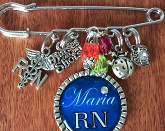 PERSONALIZED RN GIFT, Rn Gifts, Rn Pinning Ceremony, Rn Graduation Gift, Rn Graduate Gift, Rn Jewelry, Rn Nursing Student, Rn Pin