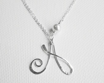 Personalized Pearl Necklace Initial Pearl Necklace Letter Necklace Silver Letter A Necklace June Birthstone Silver Initial A Necklace