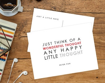 Disney Inspired Postcards | Alice in Wonderland | Peter Pan | Winnie the Pooh | Walt Disney | Pack of 5 or 10 Quote Postcards to Mail