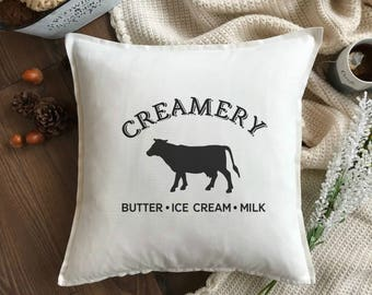 Creamery Farmhouse Pillow - Farmhouse Pillow Cover - Farm Pillow - Rustic Farm Decor Cow Pillow - Dairy Farm Pillow