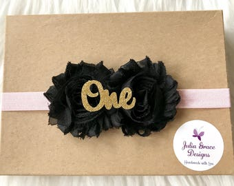 Black & Pink Headband, First Birthday Headband, 1st Birthday, Baby Headband, Girls Headband, Headband, Newborn Headband, Infant Headband