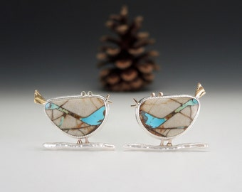 Bird Pin on Stick Pearl, Boulder Turquoise, Bird Brooch, Sterling Silver and 14kt 18kt Gold, Bird Lover, Whimsical