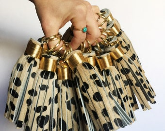 The Original Large Cheetah Print Tassel Keychain ~ Leather Tassel, Hair on Hide, Leopard Print, Cheetah Print, Bag Accessory, Animal Print