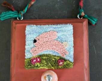 Happy Spring Rabbit Punchneedle Embroidery Pattern PDF