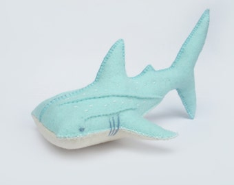 Felt Whale Shark Soft Toys Sculpture Sewing Pattern PDF - Waldorf Style Toy