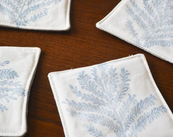 Set of 4 Coasters, Housewarming, Gift for her, Mother's day gift, frond coasters, botanical, dusty blue, cloth coaster set, hostess gift
