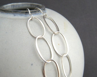 long oval sterling silver chain earrings. tiered dangle. simple jewelry. lightweight chainmaille drops. modern geometric gift for her women