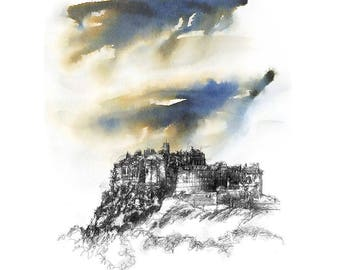 Edinburgh castle | Limited edition fine art print from original drawing. Free shipping.