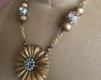 That 70's vibe: vintage assemblage necklace, repurposed jewelry