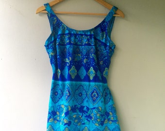 Bright Shades of Blue MOROCCAN Print1960s Vintage  Bathing Suit // Size Med