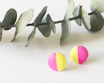 Wood Stud Earrings, Magenta + Yellow