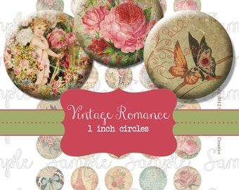 Vintage Romance 1 inch 25mm Circle Rounds Digital Collage Sheet -  INSTANT Download - Bottle cap Pendant Jewelry - Printable Download