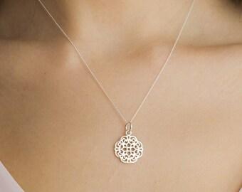 Filigree Necklace Mandala 925 Mother's Day
