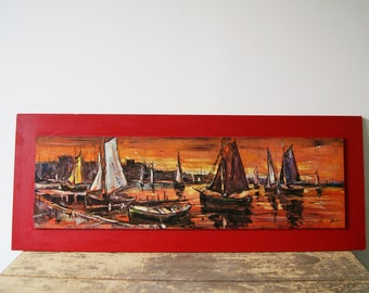 Painting on wood in red 1960s, picture port sailboat, mural large mid century