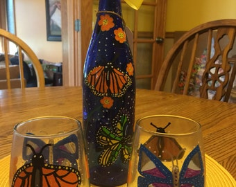 Hand-painted butterfly wine bottle with lights inside & 2 hand-painted stemless wine glasses to match
