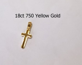 18ct 750 Solid Yellow Gold Crucifix Cross Pendant Jewellery