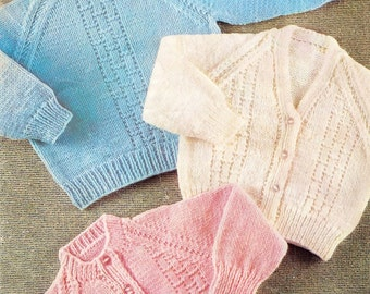 Baby Sweater/Cardigans and Jumper in QK 8 ply for sizes 20 - 24 ins - Bellmans 1053 - PDF of Vintage Knitting Pattern