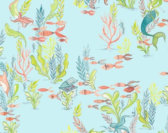 Mermaid Fabric, Aqua Fabric, Pink Fish, Designer Fabric, Cotton Fabric By The Yard, Kids Fabric, Fat Quarter Fabric, Under The Sea, Ocean