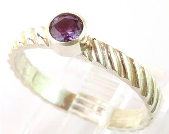 4mm Faceted Alexandrite Bezel Set Stacking Ring on Decorated Band