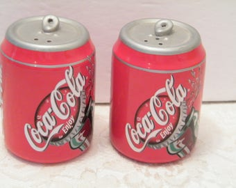 Coca Cola Can Salt and Pepper Shakers, Vintage Ceramic set of collectible pop accessories, great for BBQs or parties, Dad or Mom Gift