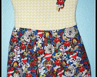 Girls Rockabilly Dress in Tattoo Print and Yellow Houndstooth ........Size 5-6