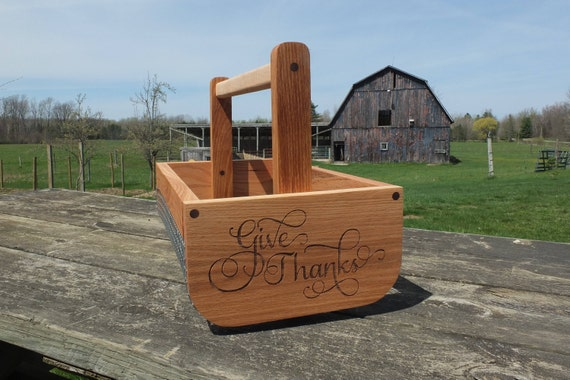 Wooden Vegetable Basket Made from Oak Wood with a Maple Handle.