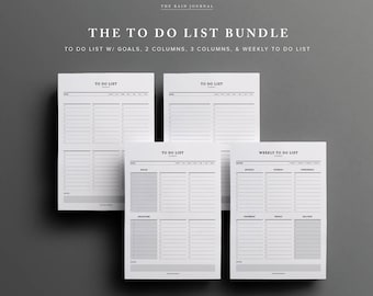 To Do List Printable Bundle - To Do List w/ Goals, 2 and 3 Column To Do List, Weekly To Do list | Printable Planner Pages, Planner Insert