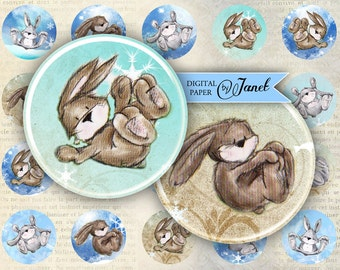 Rabbits in the Snow - circles image - digital collage sheet - 1 x 1 inch - Printable Download