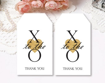 CUSTOM Printable Favor Tags, Thank You Wedding Tags, X To The O Tags, Wedding Tags, Gift Tags, Gold Glitter Heart Tags