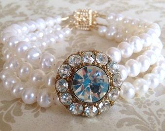 Upcycled Vintage Bridal Bracelet - Vintage Rhinestone Button, Ivory Freshwater Pearls, 14k Gold Filled Findings  ((Mae Bracelet))
