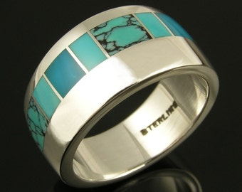 Turquoise and Gem Silica Inlay Ring in Sterling Silver by Hileman Silver Jewelry