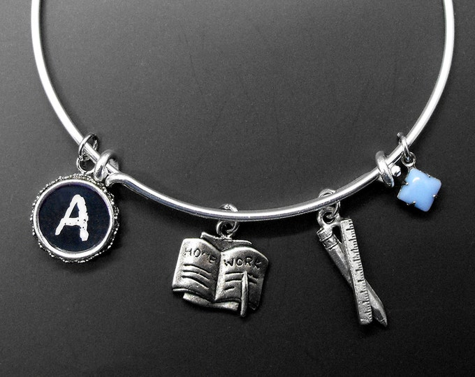 Teacher Bracelet Adjustable Stackable Bangle Personalized Initial Teacher Gift