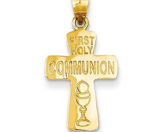 14k solid gold first holy communion cross. religious cross. communion.