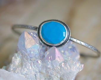 Natural Turquoise, Rose Cut Turquoise Sterling Silver Cuff Bracelet... Kismet...