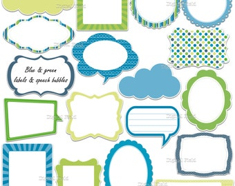 Blue and green labels - frames and speech bubbles clip art set - printable digital clipart - instant download
