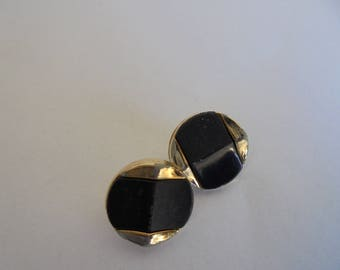 Set of 3 Round 14 mm buttons, black and gold