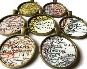 CUSTOM map jewelry, Bronze pendant charms, custom map necklace charms, personalized mother daughter jewelry, available as a custom keychain