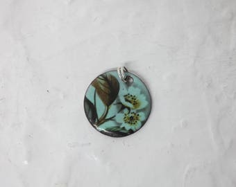 Copper Enamel Necklace or Pendant with Floral Decal