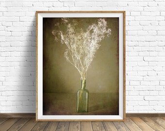 "photography, flowers, floral, instant download art, instant download printable art, farmhouse chic, nature, rustic, art - ""The Green Bottle"""