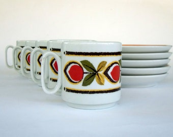 Vintage Espresso Coffee Cups and Saucers, Italian Coffee Cups, Demitasse, Set of 4 Coffee Cups, Italian Porcelain