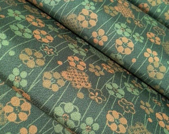 Chirimen crepe silk Kimono fabric - pine green floral - by the yard